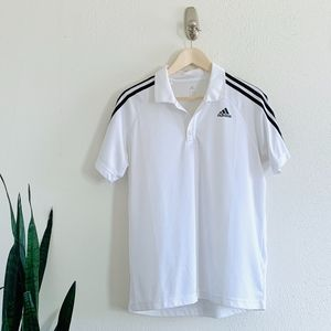 adidas Men's 3 Stripes Logo White Polo Shirt Small